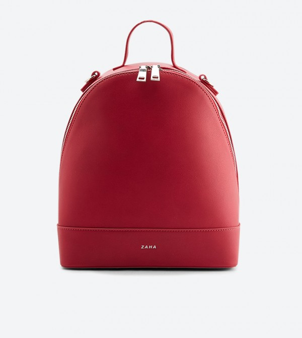Top Handle Zip Closure Backpack - Red