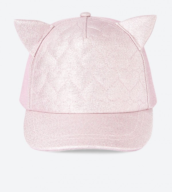 Quilted Cat Ear Details Cap - Pink
