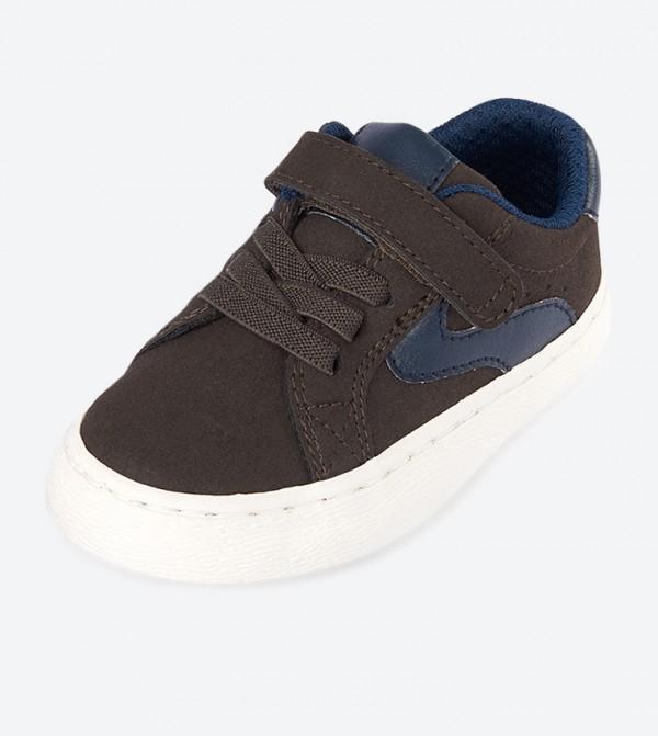 Velcro Closure Rockstar Low Ankle Sneakers - Brown