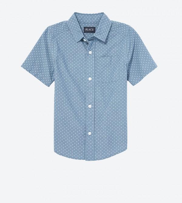 قميص بأكمام قصيرة لون أزرق