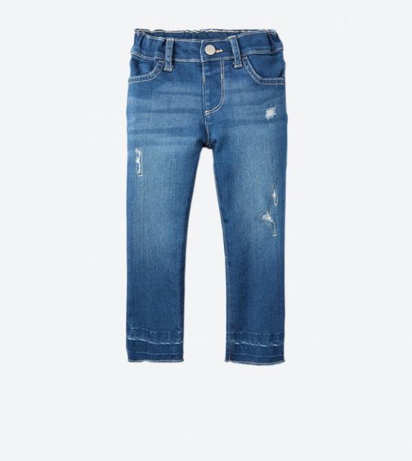 بنطال جينز بأربع جيوب لون أزرق