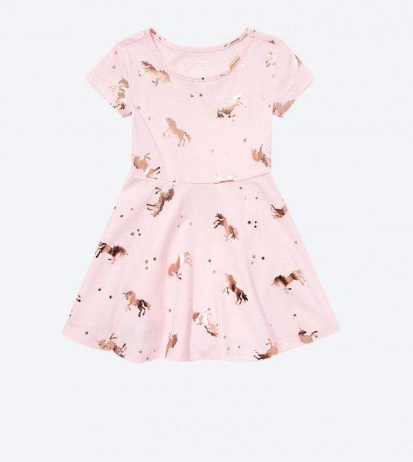 فستان مطبع بلون زهري