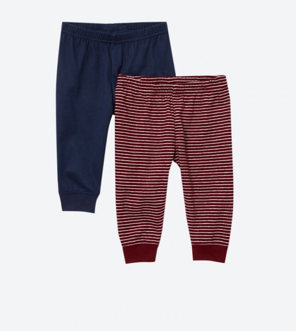Striped Pattern Elastic Waistband Pants Set (2 Pcs) - Multi
