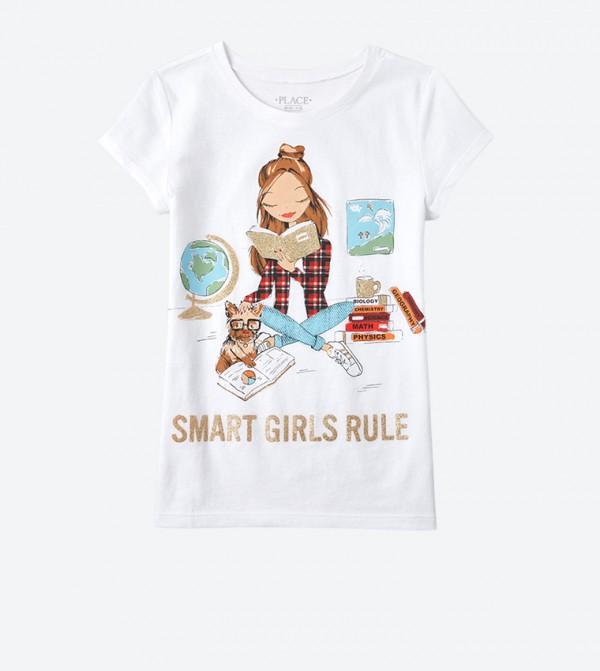 Smart Girl Graphic Printed Shirt Sleeve T-Shirt - White