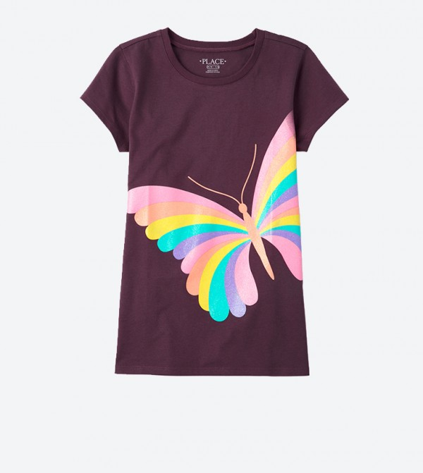 Rainbow Butterfly Graphic Printed Short Sleeve T-Shirt - Purple