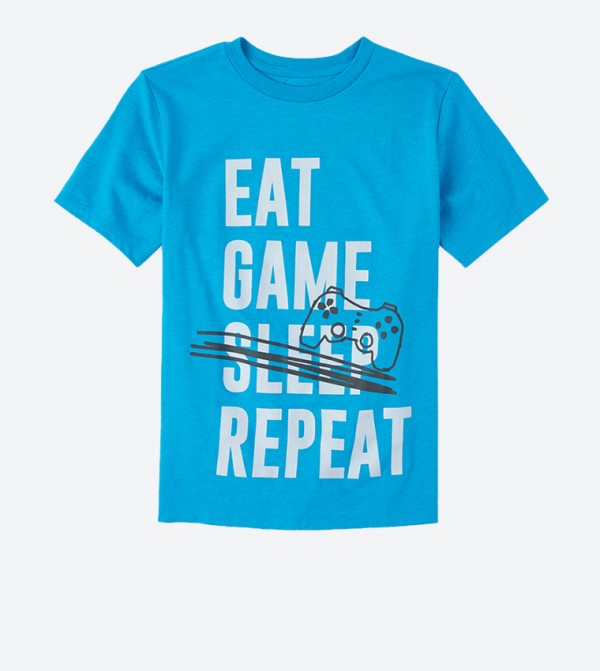 Eat Game Sleep Repeat Text Printed T-Shirt - Blue