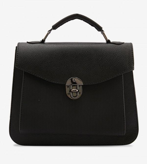 Black Textured Shoulder Bag