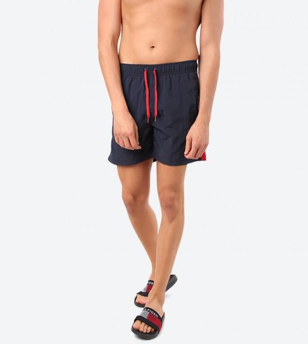 Soft Drawstring Elasticated Waistband Shorts - Blue
