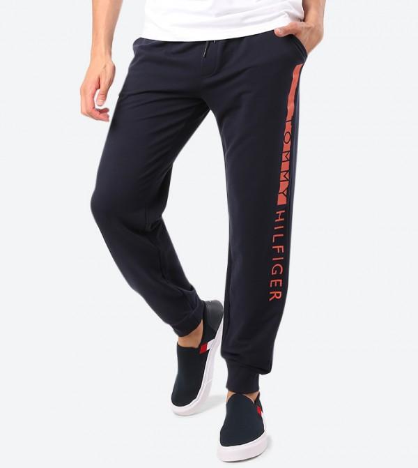 Drawstring Elasticated Waistband Track Pants - Navy