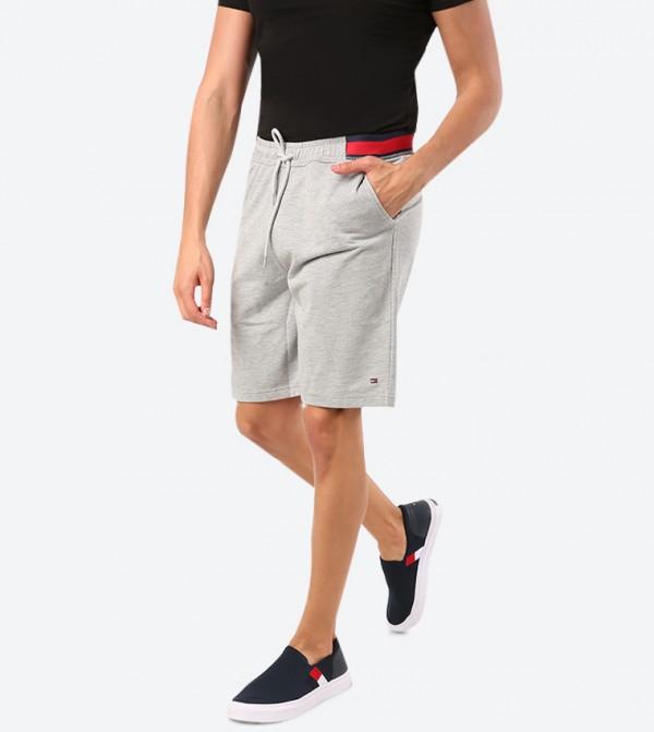 Elasticated Waistband Twin Pocket Shorts - Light Grey