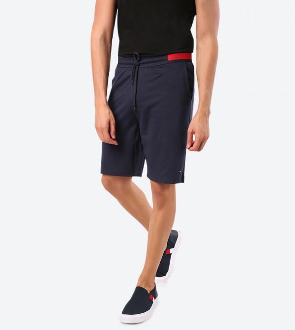 Elasticated Waistband Twin Pocket Shorts - Navy