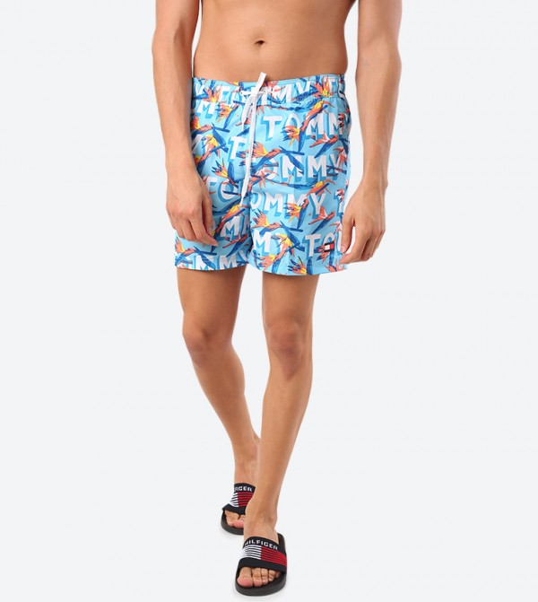 Printed Drawstring Closure Shorts - Blue