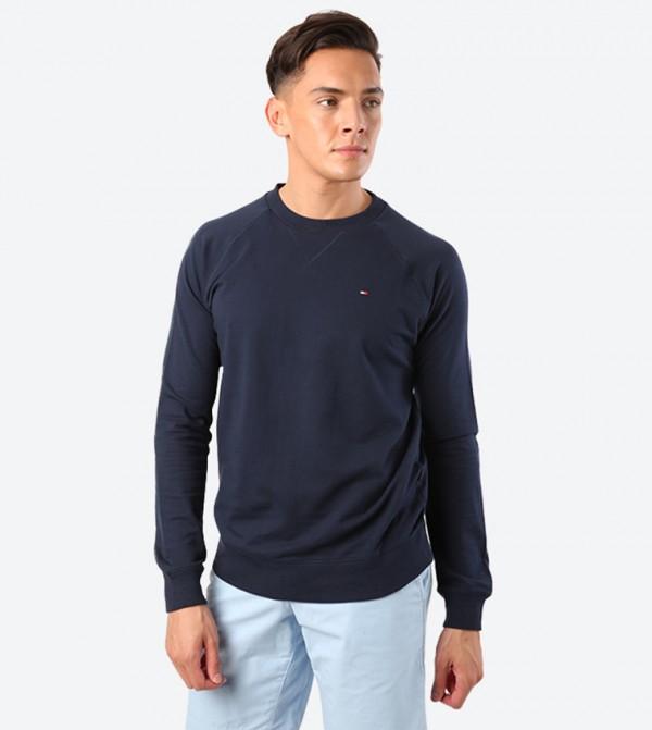 Solid Round Neck Long Sleeve Sweatshirt - Navy