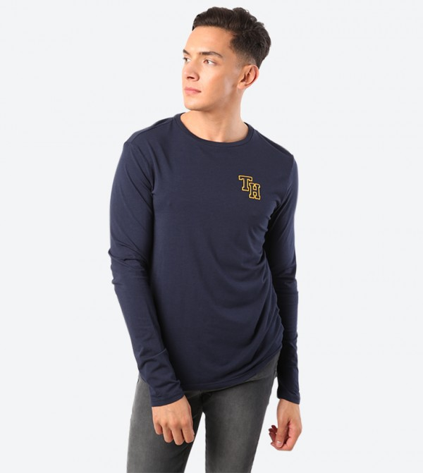 Brand Logo Embroidered Long Sleeve Crew Neck T-Shirt - Navy