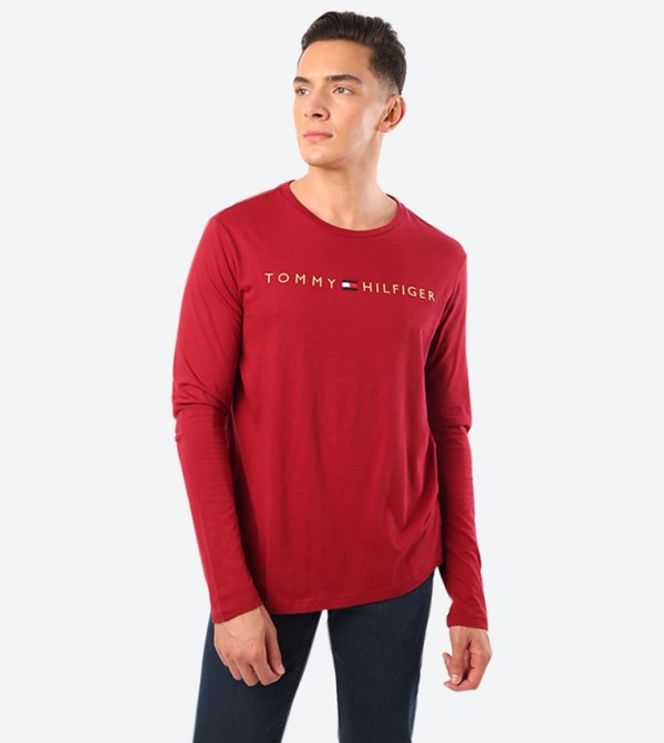Brand Name Detail Long Sleeve Crew Neck T-Shirt - Red