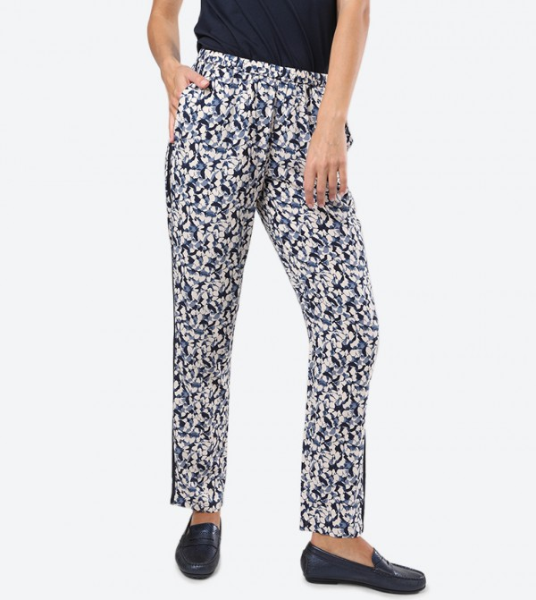 Printed Elasticated Waistband Two Pocket Woven Pant - Navy