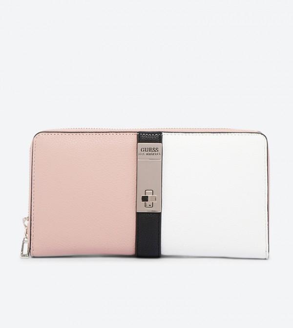 Asher Zip Around Colorblocked Large Wallet - Pink