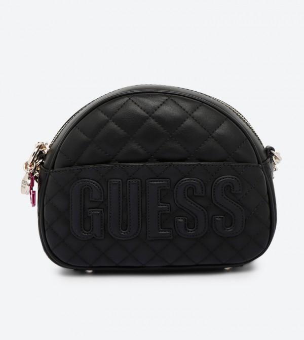Top Zip Closure Quilted Mini Cross Body Bag - Black