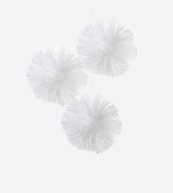 Modern Romance Tulle Pom Poms Set (3 Pcs) - White
