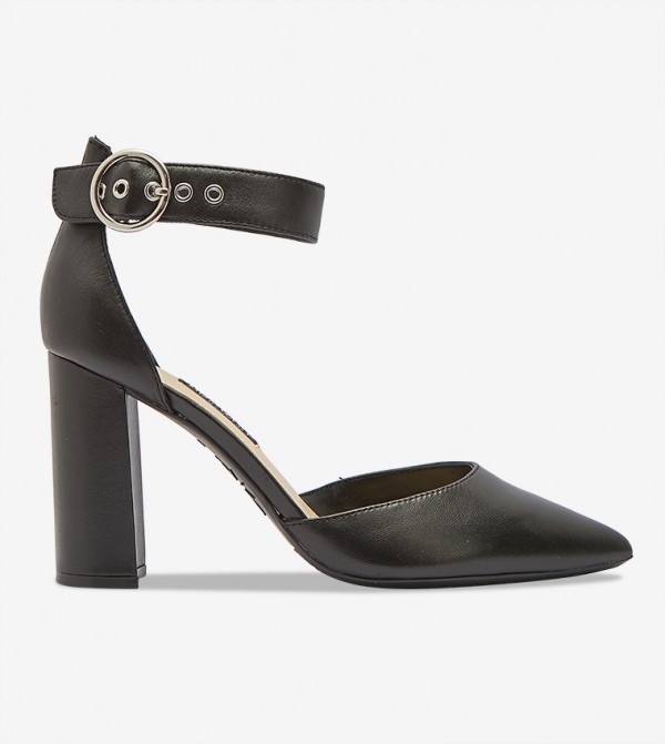 Women Pump Ankle Strap Solid Footware - Black