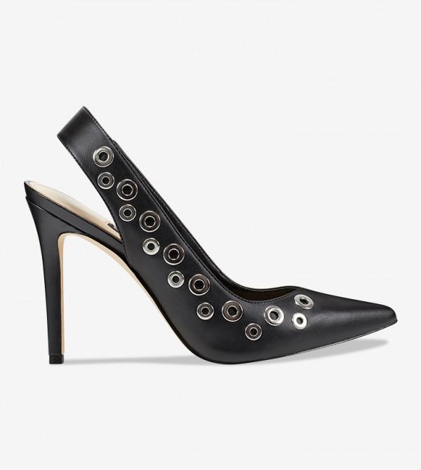 Women Sling Back Metal Beads Sandal - Black