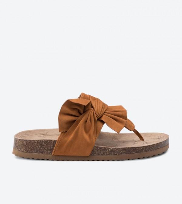 Bow Details Open Back Round Toe Slides - Camel WS17310-01