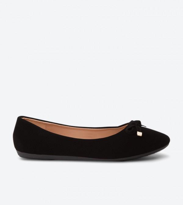Bow Detail Round Toe Ballerinas - Black