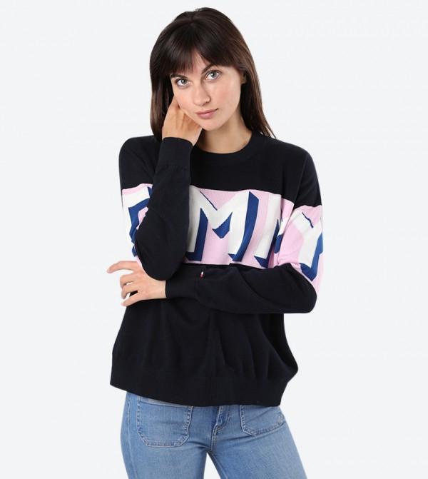 Brand Text Printed Crew Neck Long Sleeve Sweatshirt - Black