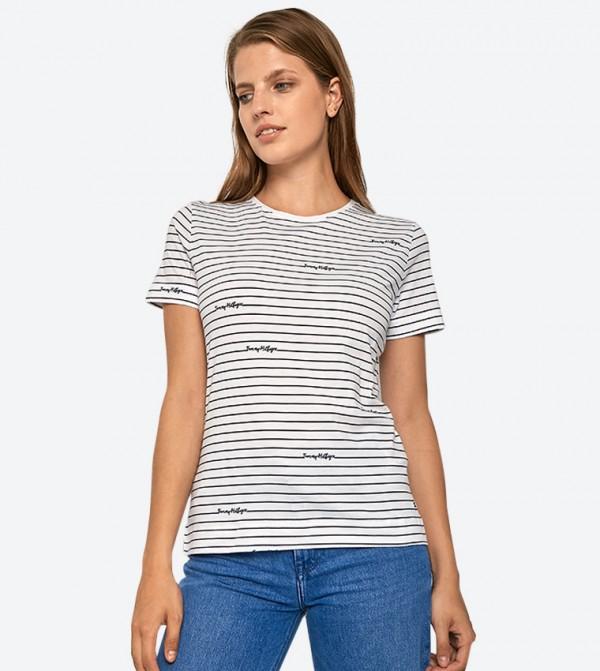 Stripes Printed Short Sleeve Crew Neck Elora T-Shirt - White