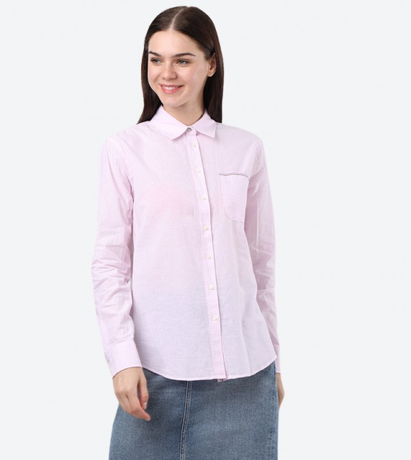 Long Sleeve Classic Colored Shirt - Pink