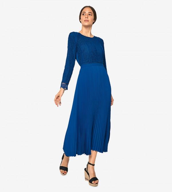Scallop Lace Trim Pleated Midi Dress Blue