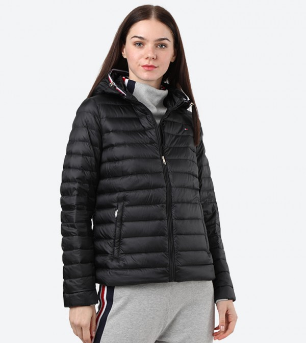 High Neck Long Sleeve Essential Quilted Jacket - Black