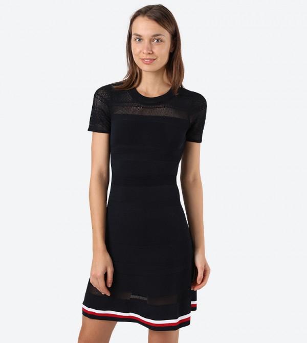 Verine Short Sleeve Round Neck Mini Dress - Black