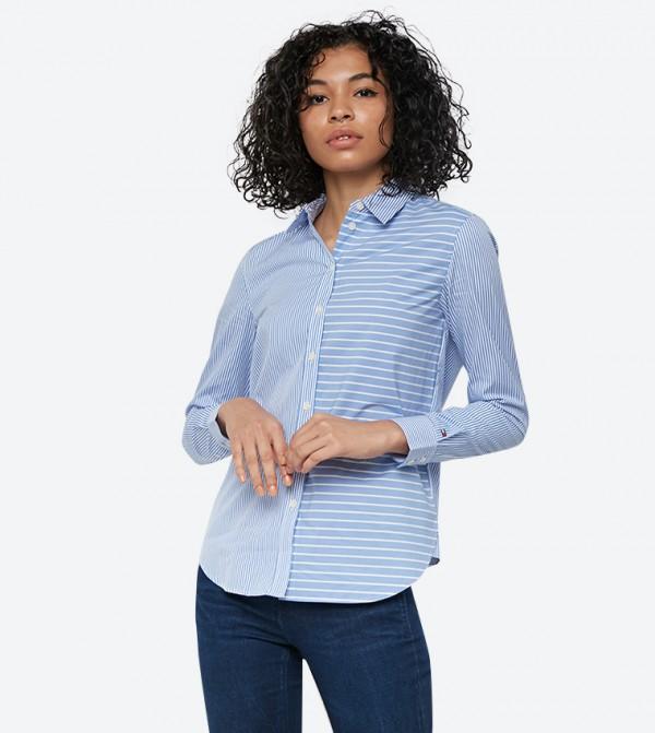 قميص فيليسيتي مخطط مع ياقة كلاسيكية لون أزرق