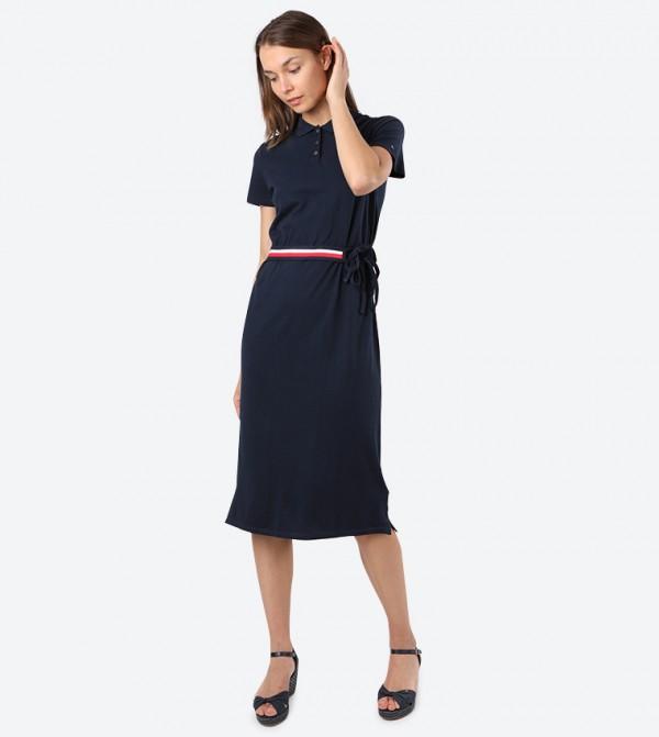 Essential Short Sleeve Midi Polo Dress - Blue