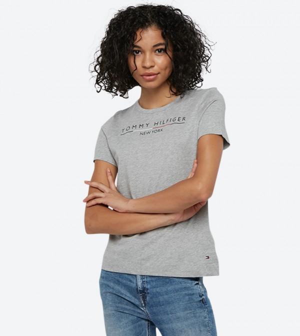 Christa Round Neck Short Sleeve T-Shirt - Grey