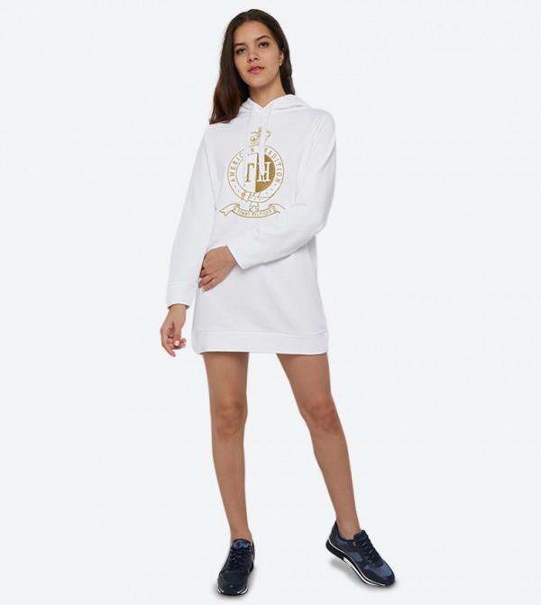 فستان بتصميم هودي ونمط مطبّع لون أبيض