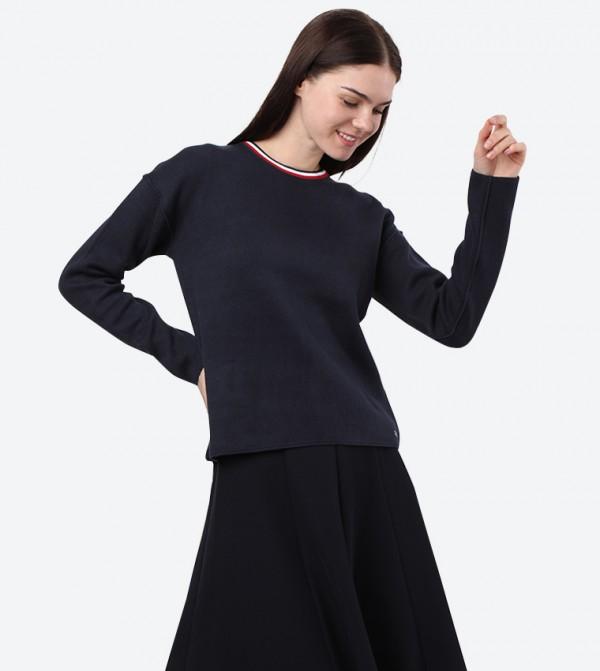 Long Sleeve Crew Neck Henie Reversible Sweater - Navy