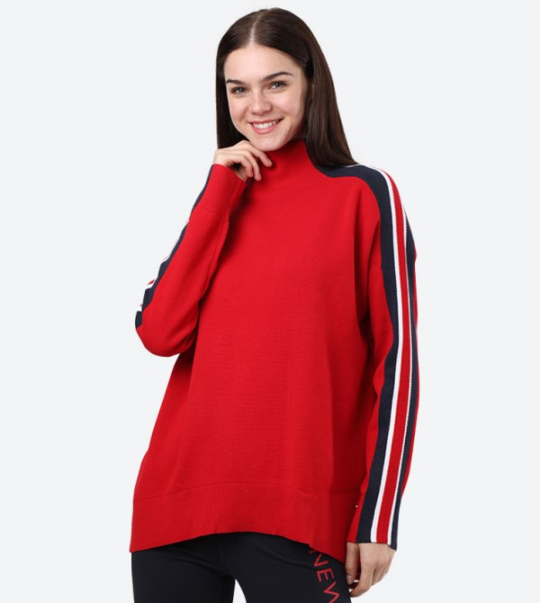 Long Sleeve High Neck Maisy Sweater - Red