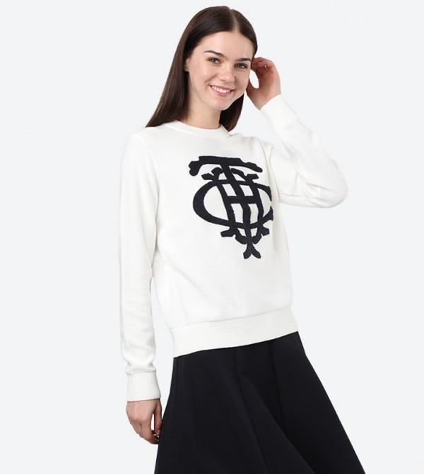Long Sleeve Crew Neck Graphic Printed Sweatshirt - White
