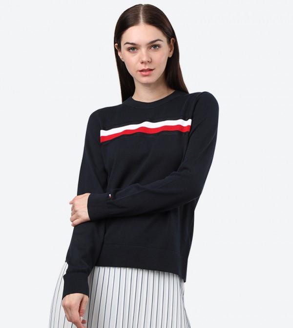 Long Sleeve Crew Neck Essential Global Sweatshirt - Navy
