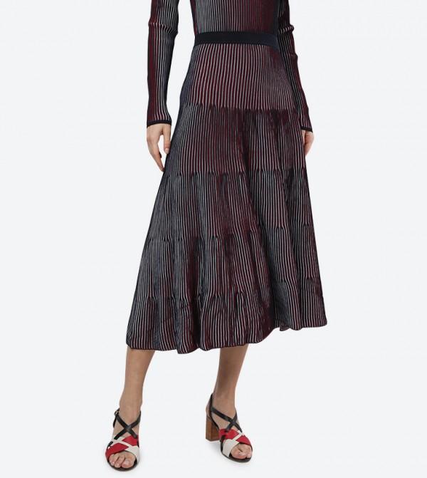 Alisha Elasticated Waistband Midi Skirt - Brown