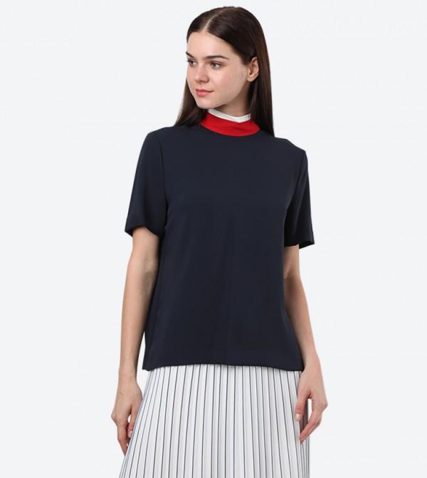 Short Sleeve High Neck Charo Top - Navy