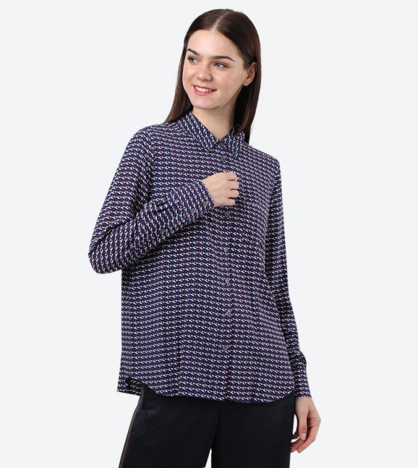 Long Sleeve Classic Collar Angie Shirt - Multi