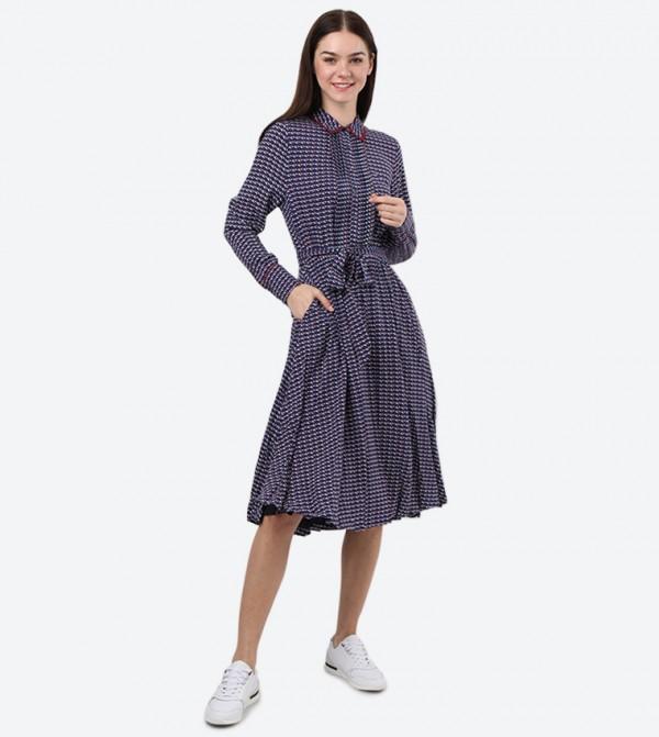 Collared Neck Long Sleeve Midi Angie Dress - Multi