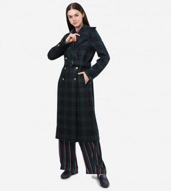 Cashmere Belle Wool Blend Military Coat - Multi