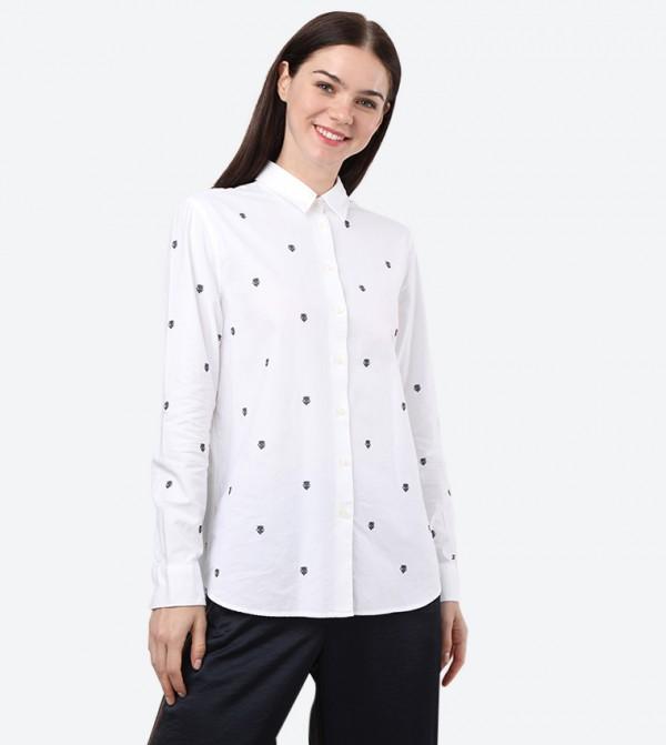 Long Sleeve Classic Collar Printed Shirt - White