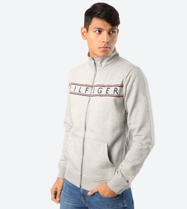 Full Zip Closure Long Sleeve Sweat Jacket - Grey