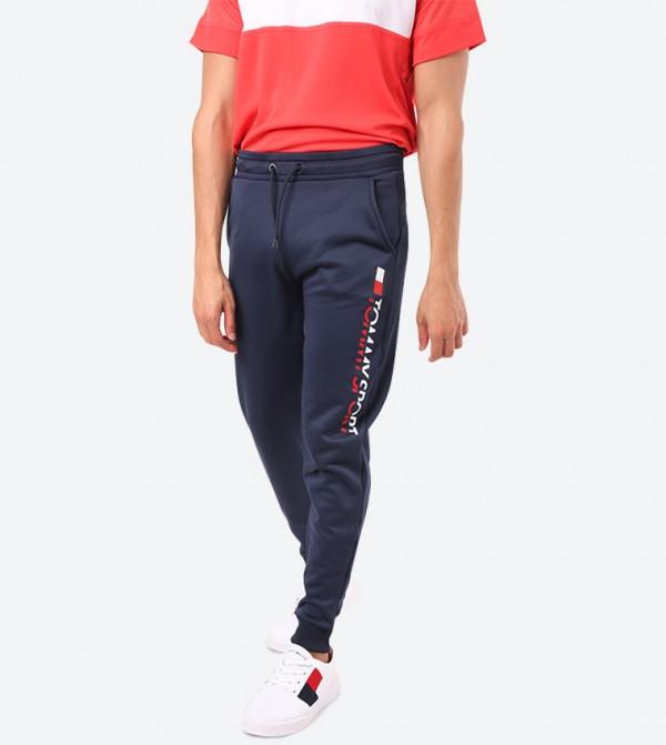Fleece Logo Detail Cuff Hem Joggers - Blue