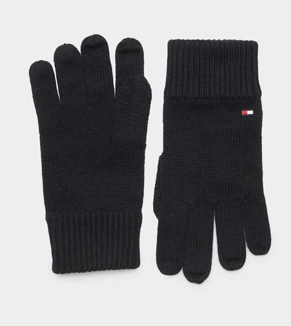 New Mens Tommy Hilfiger Black Pima Cashmere Cotton//Cashmere Gloves